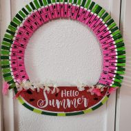 Dollar Tree Watermelon Clothespin wreath