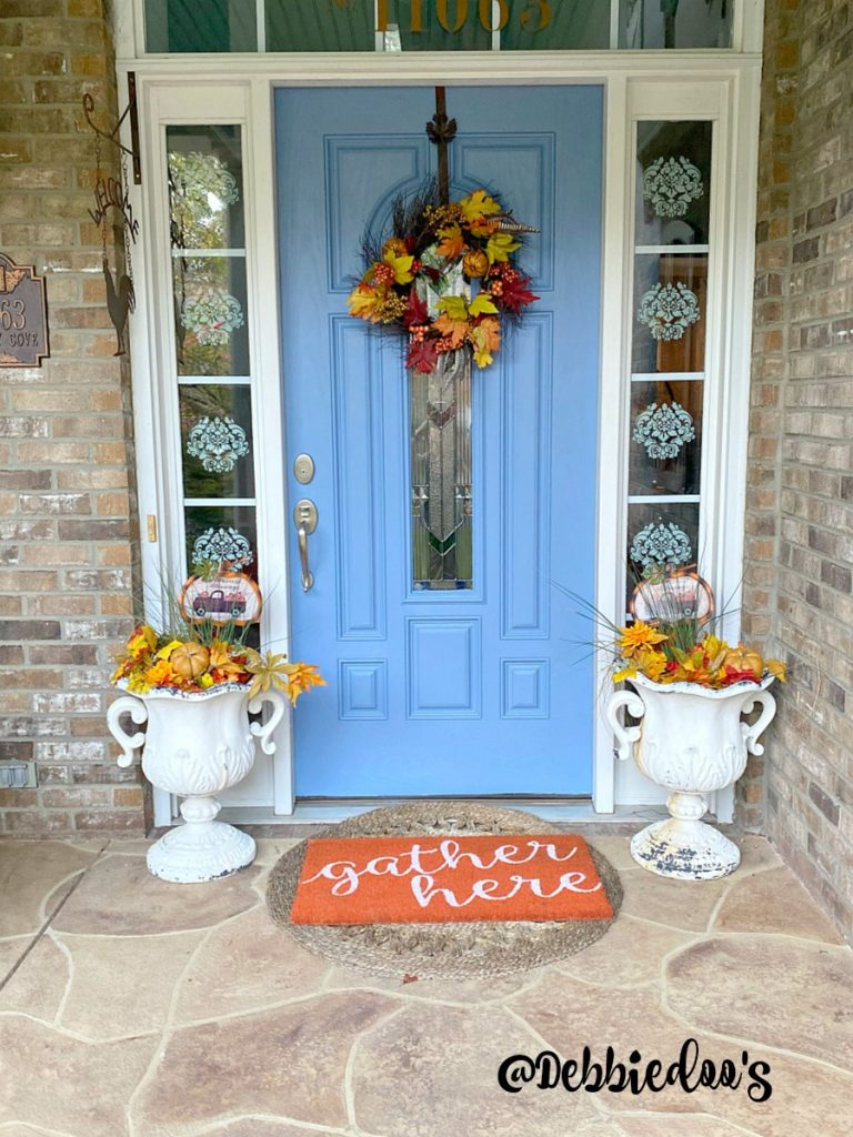 Fall decorating with blues and oranges