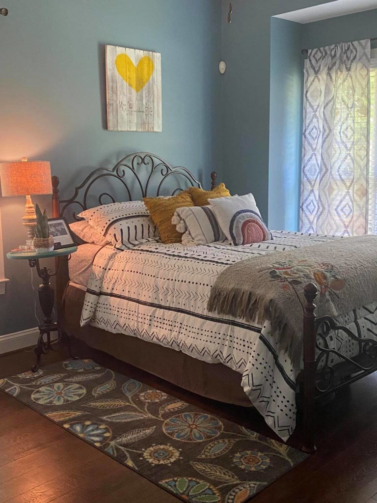 Boho Guest Bedroom with Sherwin Williams Whirlpool color.