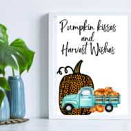 Pumpkin Kisses and Harvest Wishes FREE fall farmhouse printable